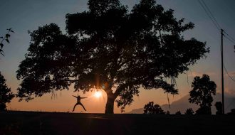 jump shot in sunset